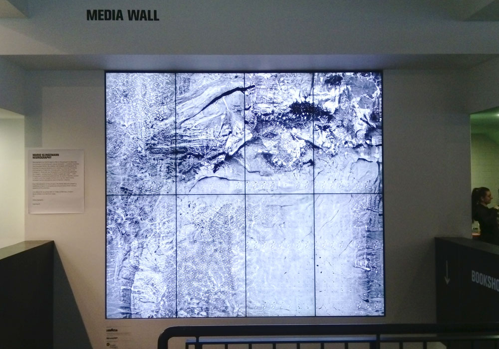 The Media wall in the entrance lobby is captivatingl