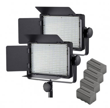PIXAPRO® 2x LECO500 LED Panel Light with Batteries